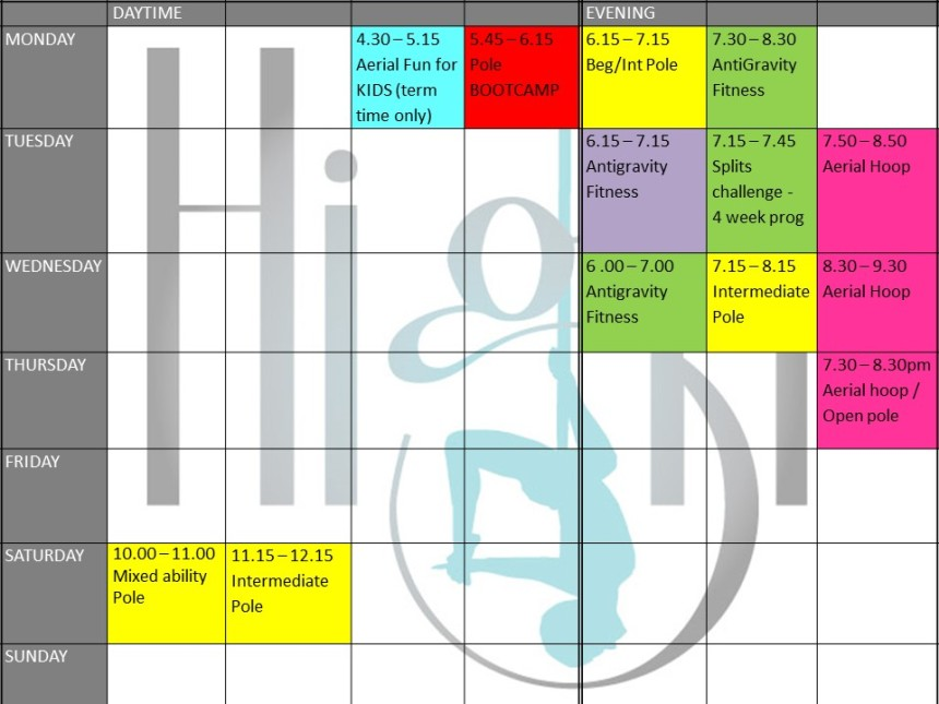 High Timetable - Nov 2018